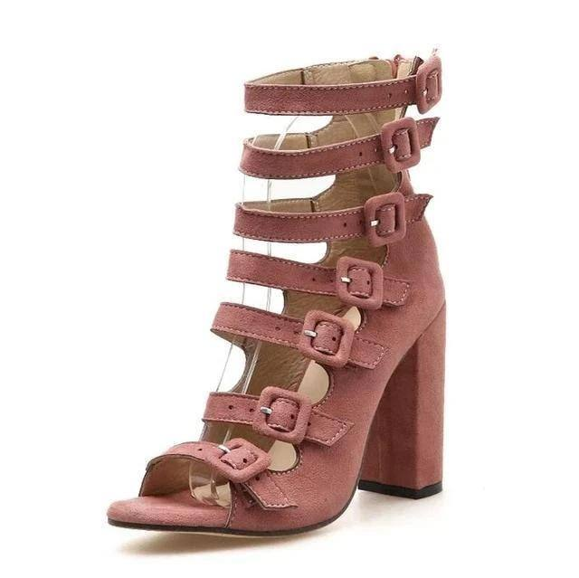 Hollow Belt Buckle Thick Square Heels Peep Toe Gladiator Sandals - Kalsord