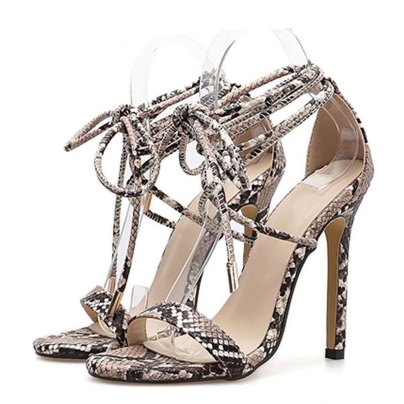 Women's Serpentine | Animal Prints Sandals PU Lace-Up Thin High Heels Size 35-40 - Kalsord