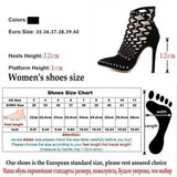 Women's Gladiator Caged Ankle Boots Stiletto High Heels Bootie - Kalsord
