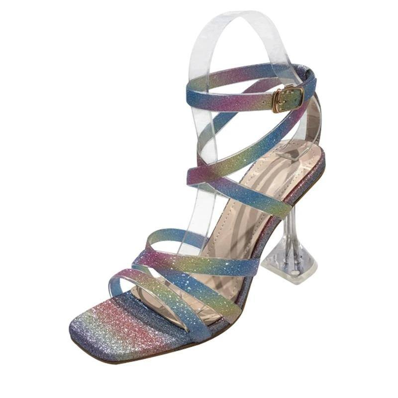 Iridescent Stylish Open Toe Buckle High Heels Sandals Pumps - Kalsord