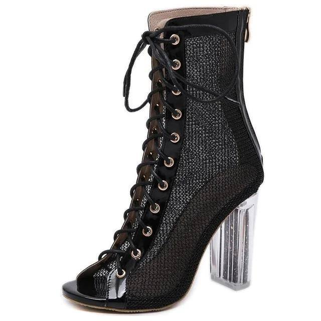 Women's Lace-Up Ankle Boots Sandal Open Toe Transparent High Heels Booties Fashion Chunky Heel - Kalsord