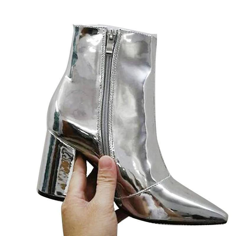 Women's Shiny Pointed Toe Square  Fashion High Heel Boots - Kalsord