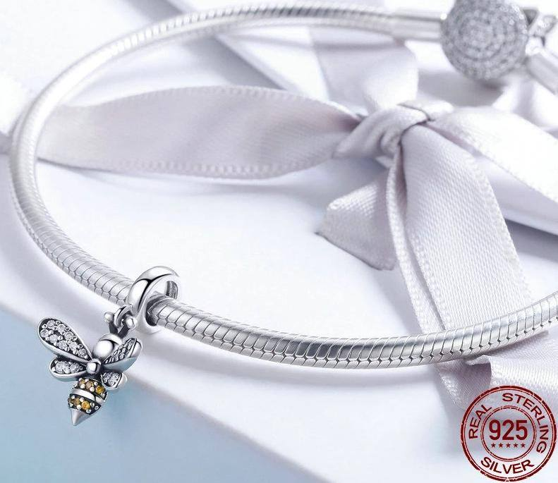 Women's Genuine 925 Sterling Silver Crystal Bee DIY Bracelets | Necklace Attachment | Jewelery - Kalsord