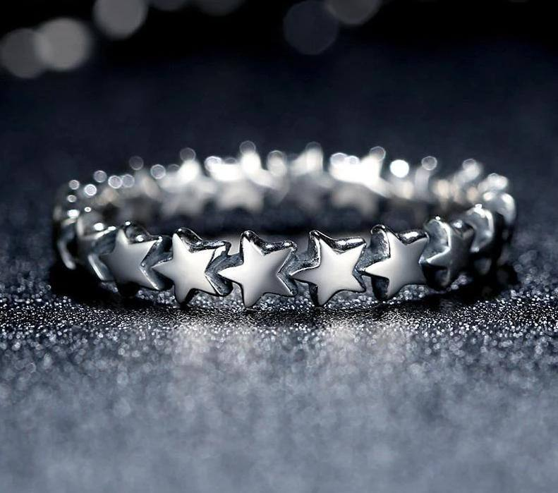 Women's Star 925 Sterling Silver Finger Ring For Wedding | Party | AnniversaryRings - Kalsord