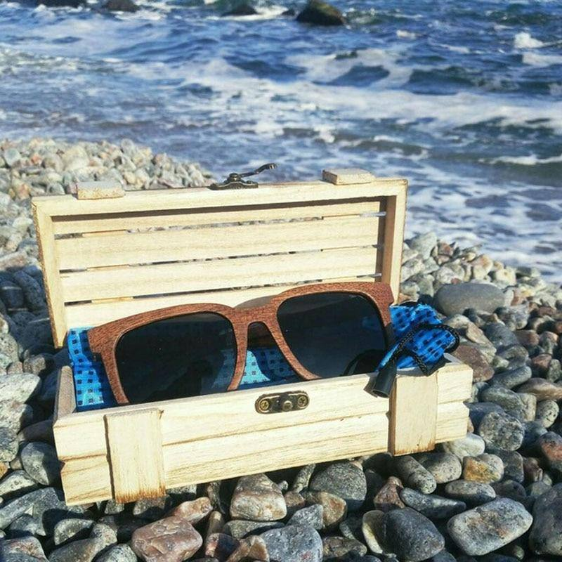 Black Walnut Wooden Polarized Vintage Sunglasses UV Protection w/ Wooden Gift Boxsunglasses - Kalsord