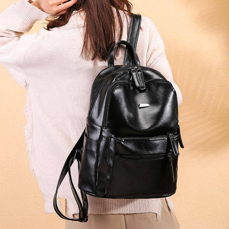 Women's Brown | Black Faux Leather Backpack For School | College | Travelbags - Kalsord