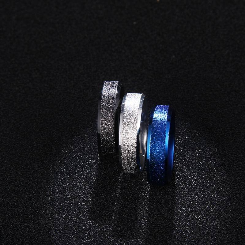 Simple Glitter Ring For Women- Silver, Blue, Black - Kalsord