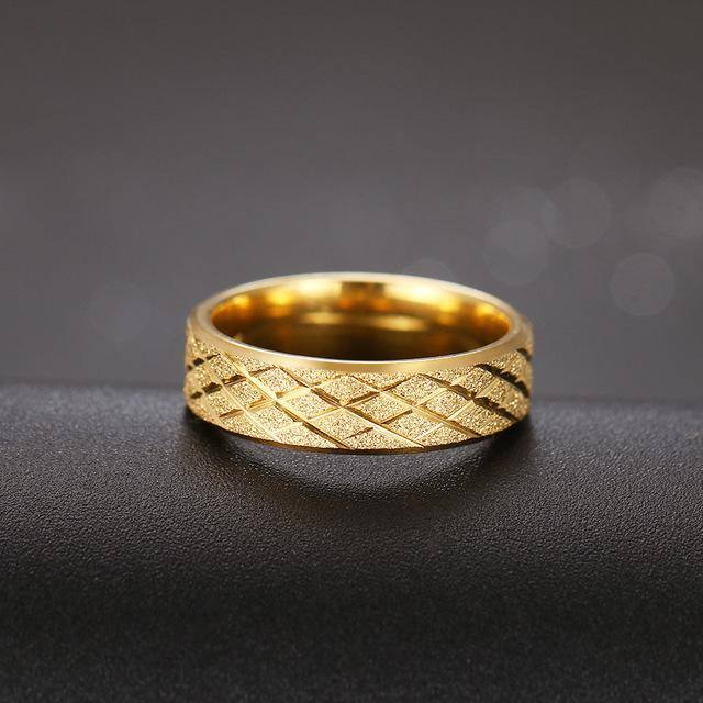 Matte Geometric Design Golden Ring For Women - Kalsord