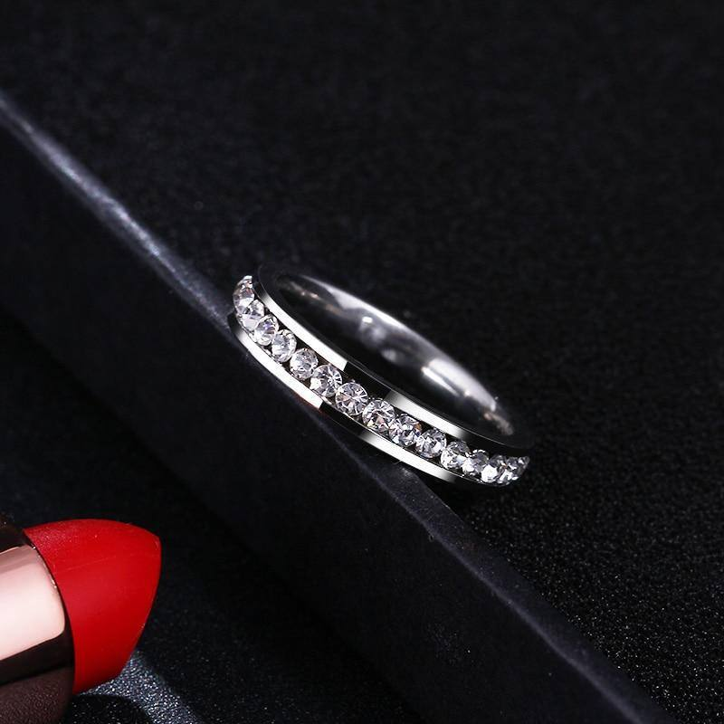 Silver Zircon Crystal Carved 4mm Ring For Women - Kalsord