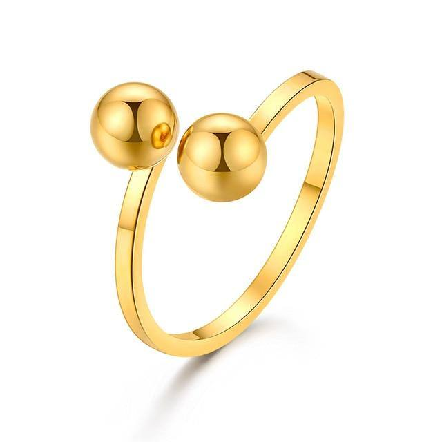 Double Ball Ring For Women- Gold/Silver - Kalsord