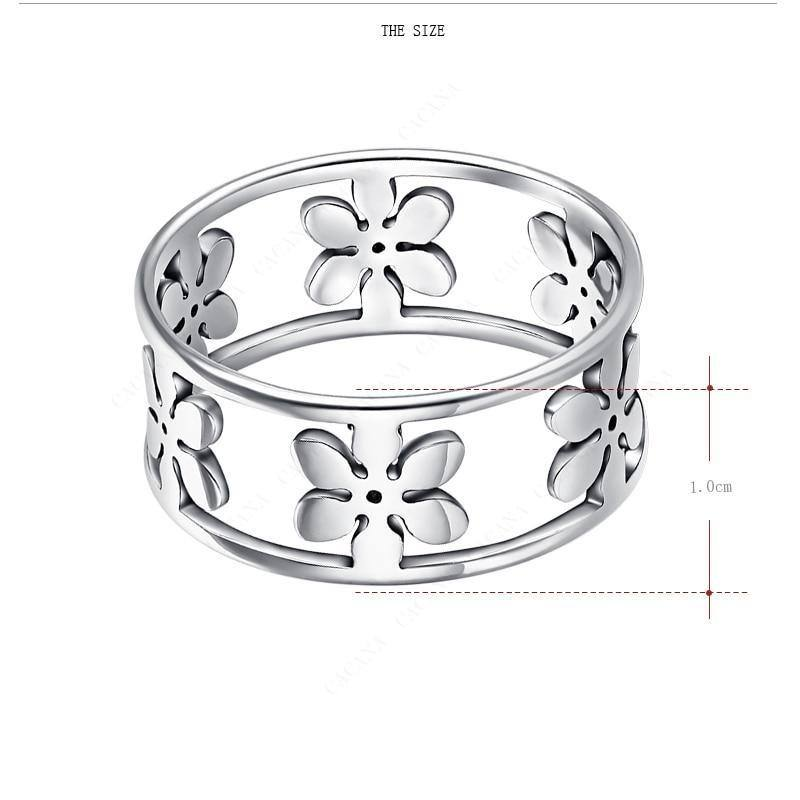 Flower Petals Stainless Steel Ring For Women - Kalsord