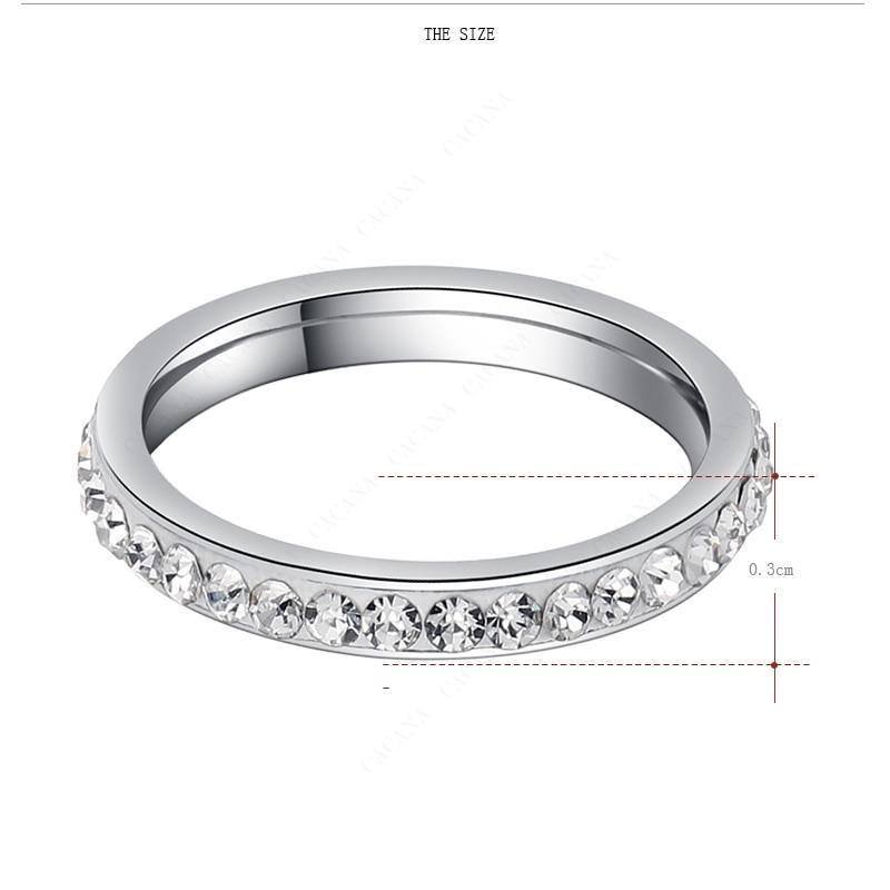 Simple Custom/Personalized Zircon/Gem Stainless Steel Ring For Women - Kalsord