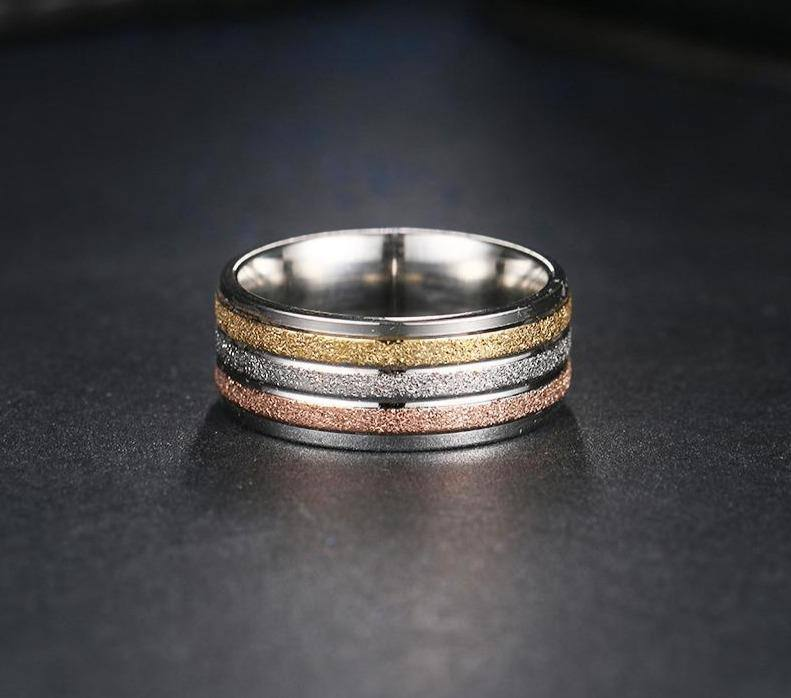 Custom/Personalized Name Three Colored Lines Ring For Women - Kalsord
