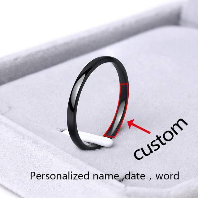 Minimalist/Simple Custom/Personalized Smooth Ring For Women Gold, Rose Gold, Black, Silver - Kalsord