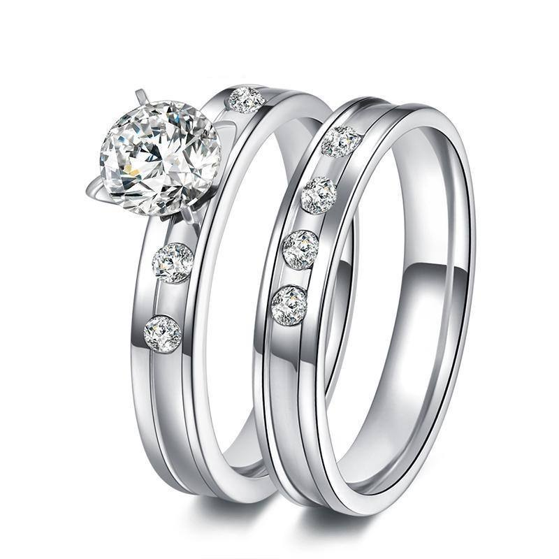 Silver Couple Pair Rings For Men Women w/ Zircon Crystal - Kalsord