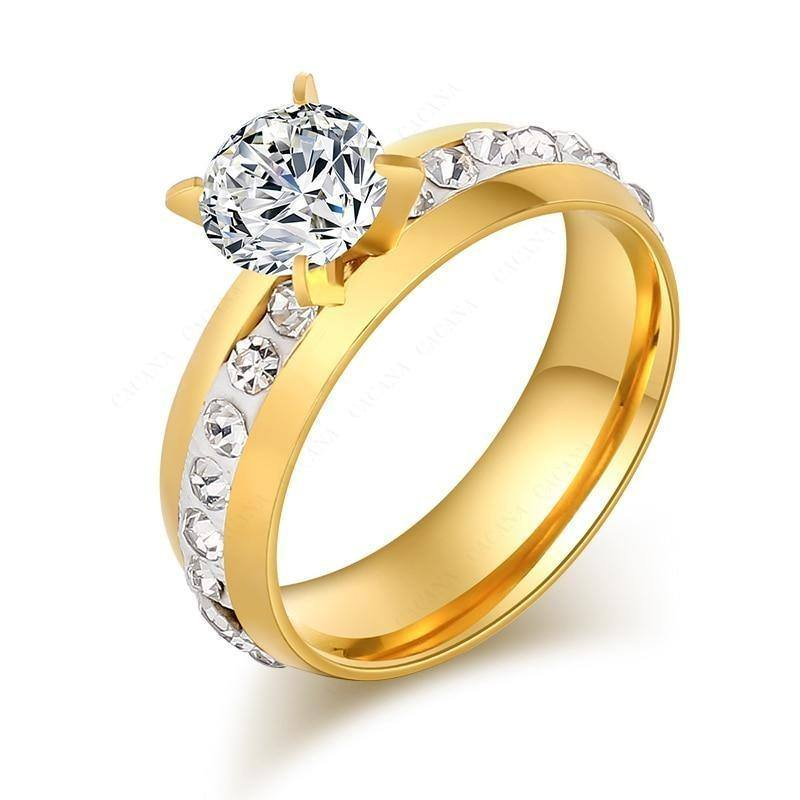 Classical Polished Zircon Ring For Women- Gold/Silver - Kalsord