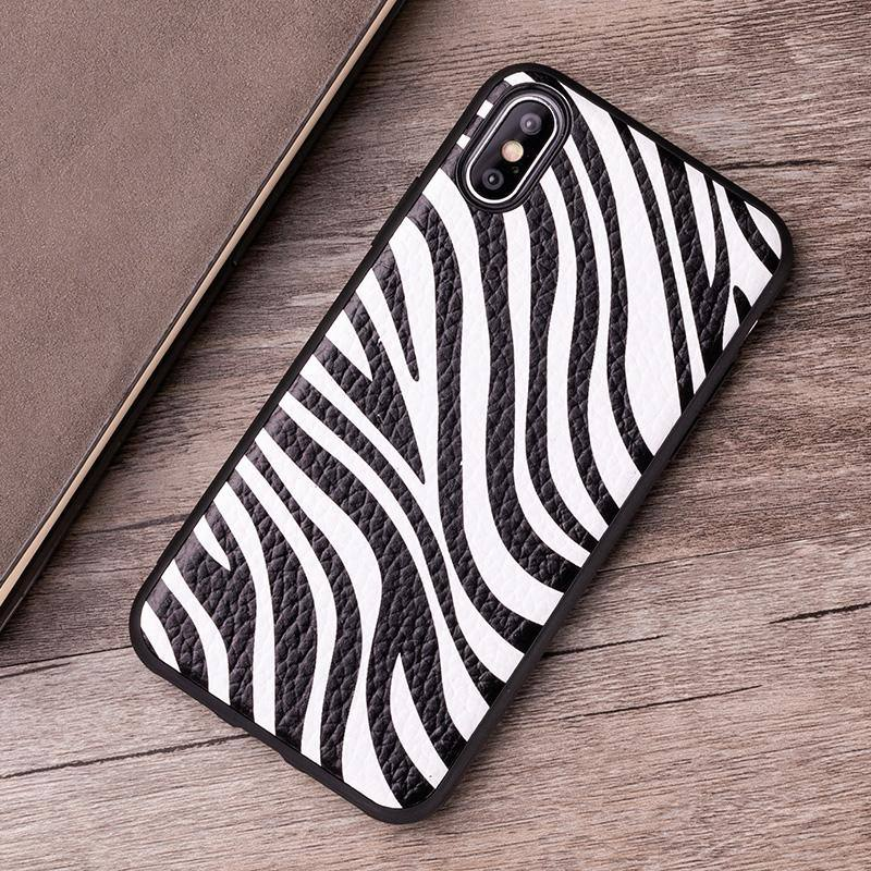 Zebra Stripes Textured Leather Phone Case For iPhone 7 8 X Xr 6 6s 7p Xs max 11 11 pro Maxcases - Kalsord