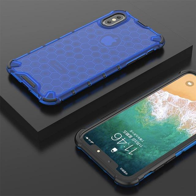 Honeycomb Textured Dual Layer Hybrid TPU + PC Phone Case For iPhone XS Max XR XS X 7 8 Plus 6 6S PlusCases - Kalsord