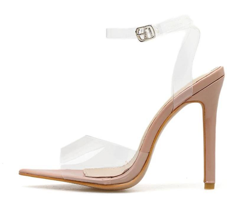 Transparent | Clear Buckle Strap Apricot Open Toe Pump | High Heel Shoe - Kalsord