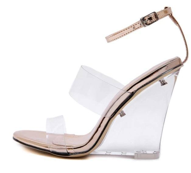 Women's Clear Transparent Ankle Strap Crystal Wedge - Kalsord