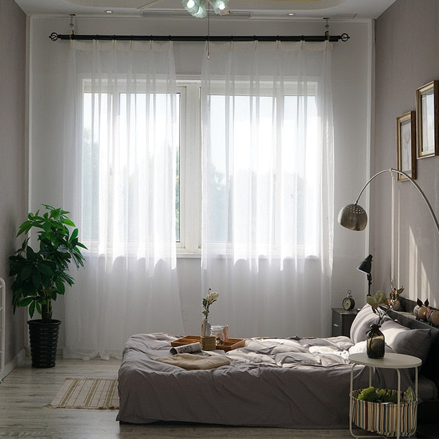 White Tulle | Organza | Voile Sheer Window Curtains For ...