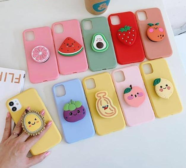#1  Cute iPhone Phone case Fruit Strawberry Tomato Lemon Watermelon Avocado Peach Socket 3D Holder For iPhone