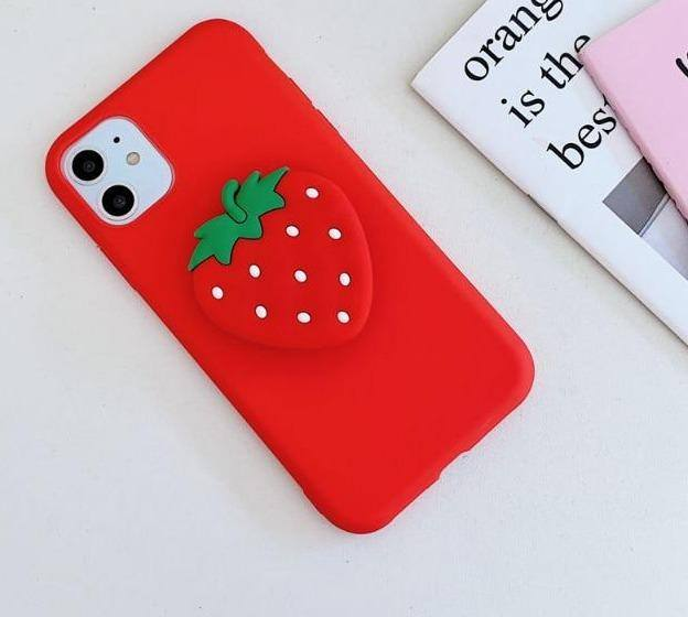 #2  Cute iPhone Phone case Fruit Strawberry Tomato Lemon Watermelon Avocado Peach Socket 3D Holder For iPhone