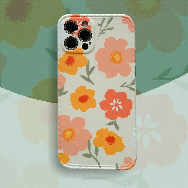 #2 Colorful Flower Leaf Phone Case For iPhone