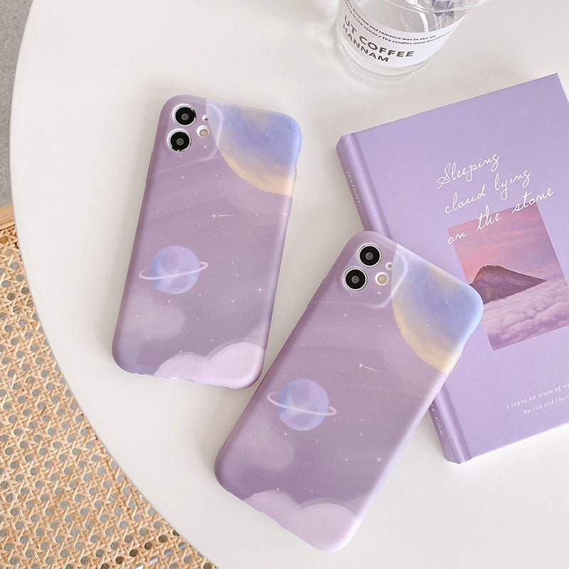 Pinkish Mauve Frosted Space Stars Planet Phone Case/Cover for iPhone