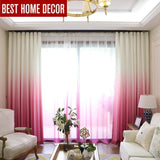 Pink Gradient Colored Window Curtains For Living Room | Bedroom | Kitchen Tulle Curtains - Kalsord