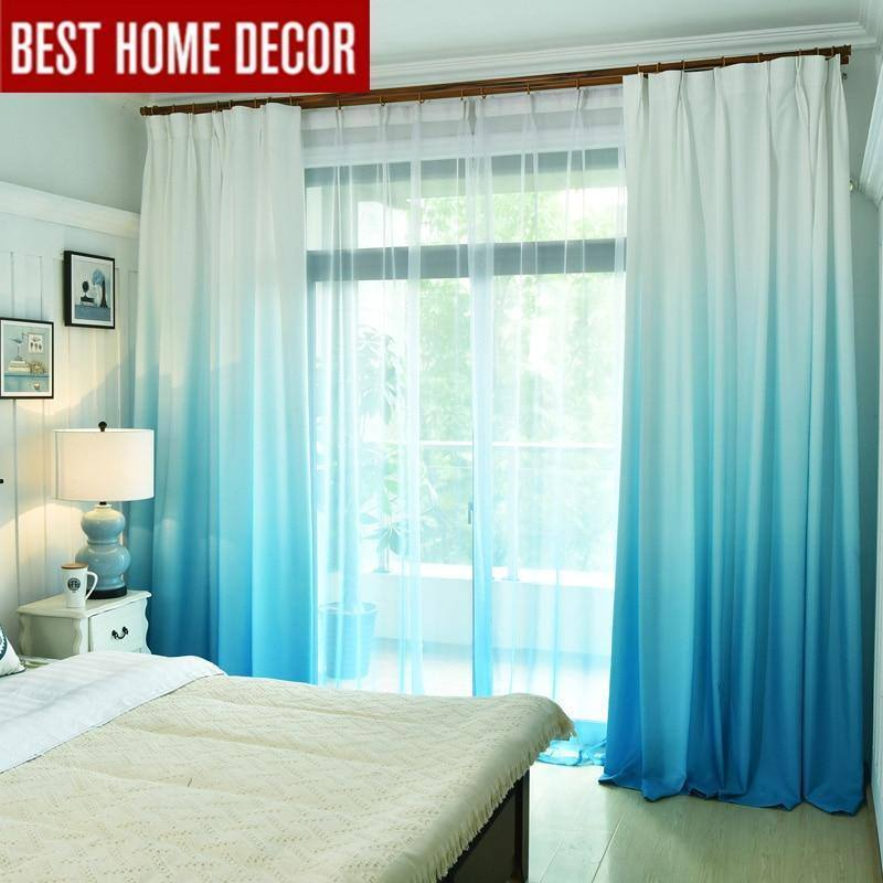 Blue | Grey Gradient Colored Window Curtains For Living Room | Bedroom | Kitchen Tulle Curtains - Kalsord