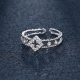 Women's Crown Silver Plated Adjustable RingRings - Kalsord