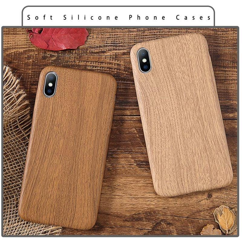 Wood Grain Textured Silicone Phone Case | Cover For Iphone 6 6S 7 7 plus 8 Plus XS Max XR Xcases - Kalsord