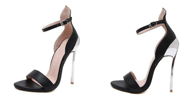 Women's Classic Open Toe Buckle Strap Sandals | Thin High Heels- White, Black - Kalsord