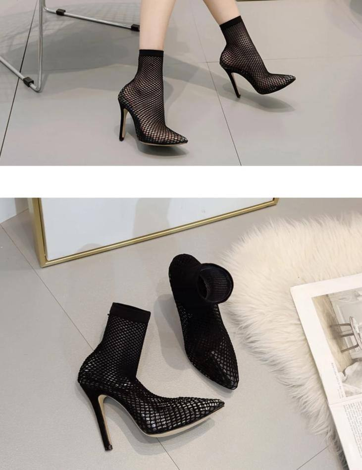 Transparent Mesh Pointed Ankle High Heels Boots - Kalsord