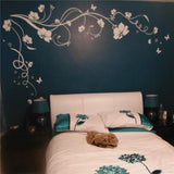 Large Butterfly | Vine | Flower Vinyl Removable Wall Sticker Tree Wall Art Decals Mural for Living room Bedroom Home Decor - Kalsord