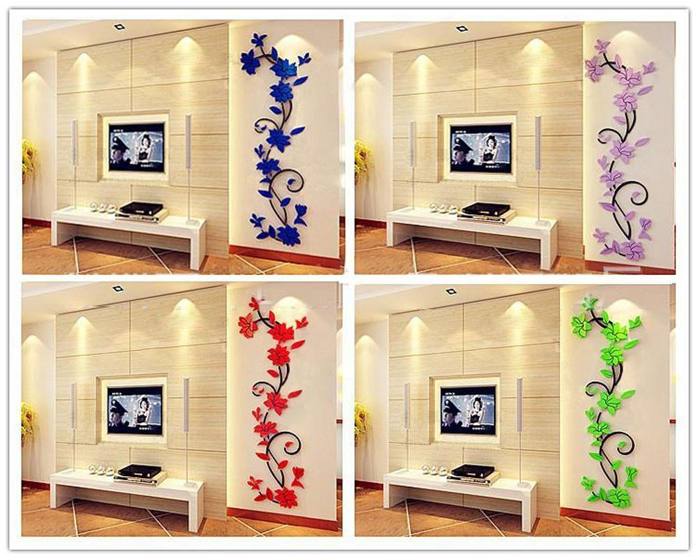 DIY 3D Acrylic Crystal Flower Wall Stickers | Decoration  Decal Wall Poster Home Decor Bedroom Living Room Background Wallpaper - Kalsord