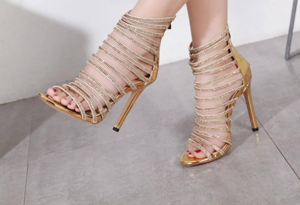 Women's Zipper Rhinestone Decorations Gladiator High Heeled Sandals - Kalsord