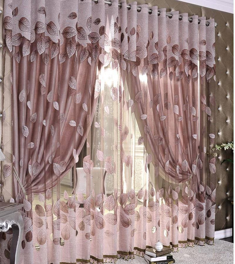 Luxury Modern Leaf Designer Window Tulle | Curtain For Living Room Bedroom Kitchen - Kalsord