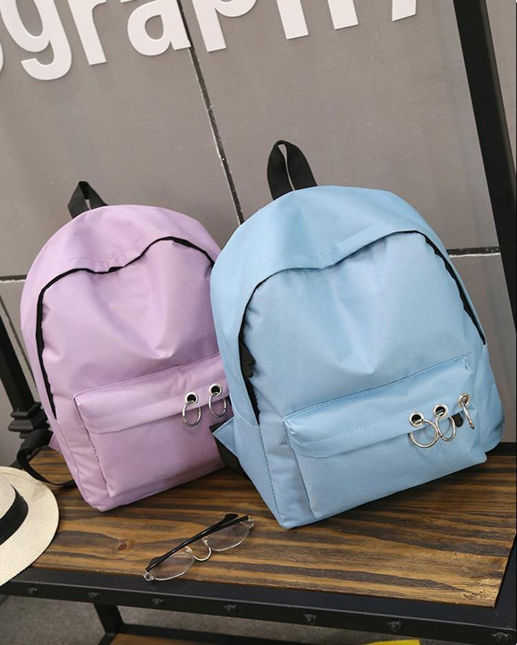 Women's Canvas Backpack- Black, Blue, Grey, Purple, Pinkbags - Kalsord