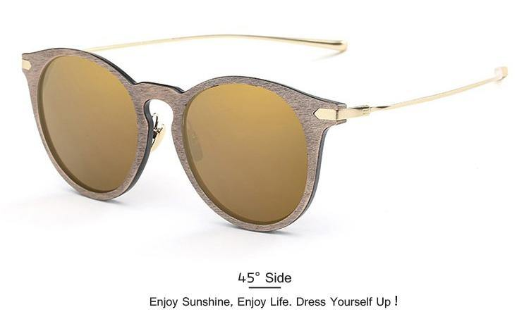 Women's Designer Vintage Wood Grain Retro Sunglassessunglasses - Kalsord