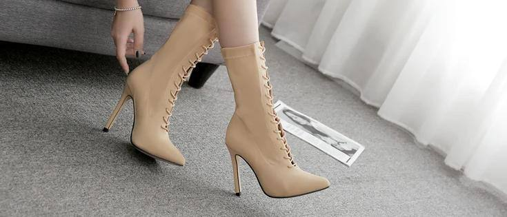 Stretch Fabric Ankle Cross Strap Pointy Stiletto | High Heel Boots - Kalsord