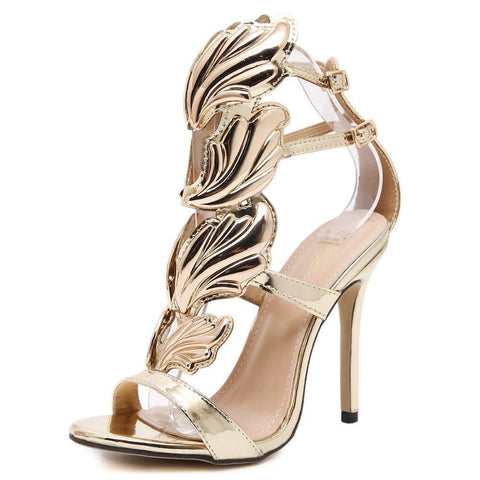Exquisite Shiny Metallic Wings Hollow Gladiator Sandals Women's Open Toe Pumps | High Heels - Kalsord