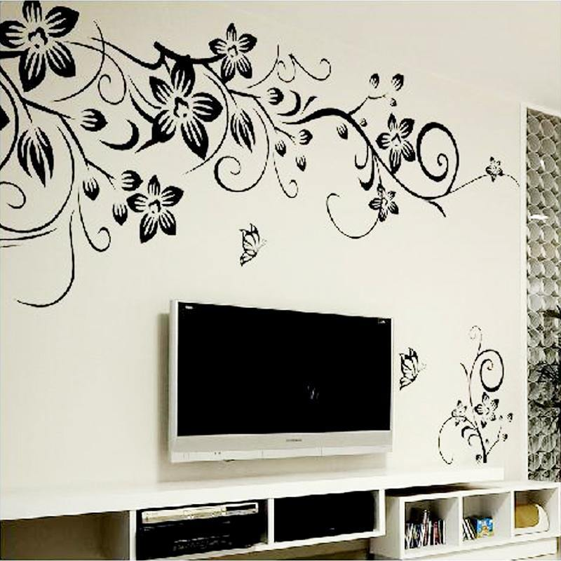 Hot DIY Wall Art Decal Decoration Fashion Romantic Flower Wall Sticker Wall Stickers Home Decor 3D