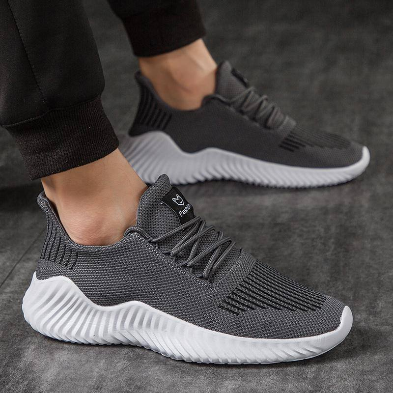 Men's Comfortable Light Lace-Up Casual Shoes | Sneakers- White, Gray, Black - Kalsord
