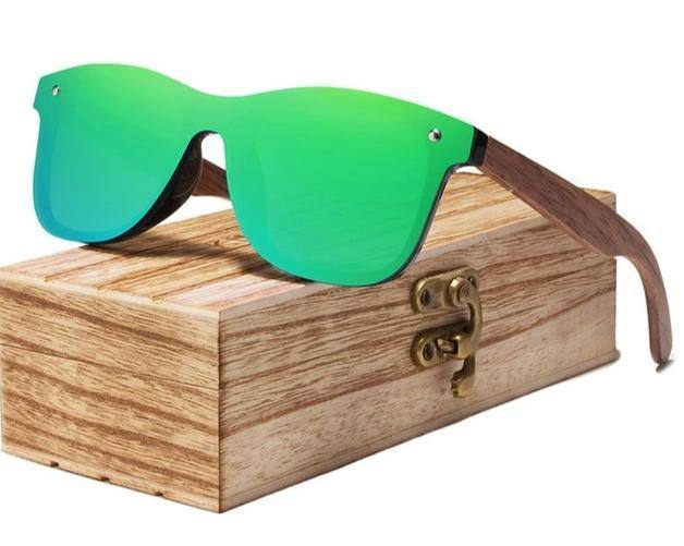 Polarized Walnut Wooden Frame UV400 Colorful Mirror Shades Sunglasses w/ Gift Box- 6 Colorssunglasses - Kalsord