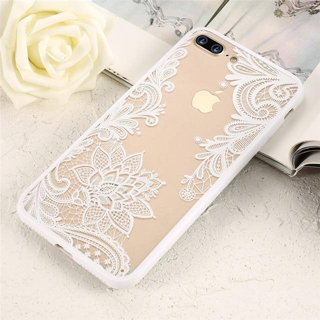 Lace Flower Pattern 3D Black | White | Rose Case For iPhone 11 11 pro 11 pro max XR 7 8 X XS 6 6S 7 Plus 8 Plus 6 6S Plus XS MAX 5 5Scases - Kalsord