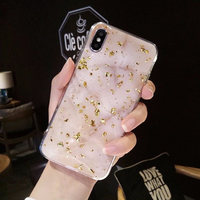 Gold Foil Bling Marble Case For iPhone X XS XR Max 7 8 6 6s PlusCases - Kalsord