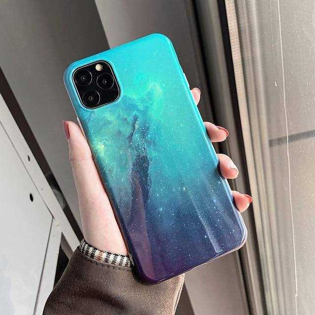 Blu-ray Abstract Starry Night Sky Glitter Phone Case For iPhone 11 Pro Max XR XS Max 7 8 Plus Xcases - Kalsord