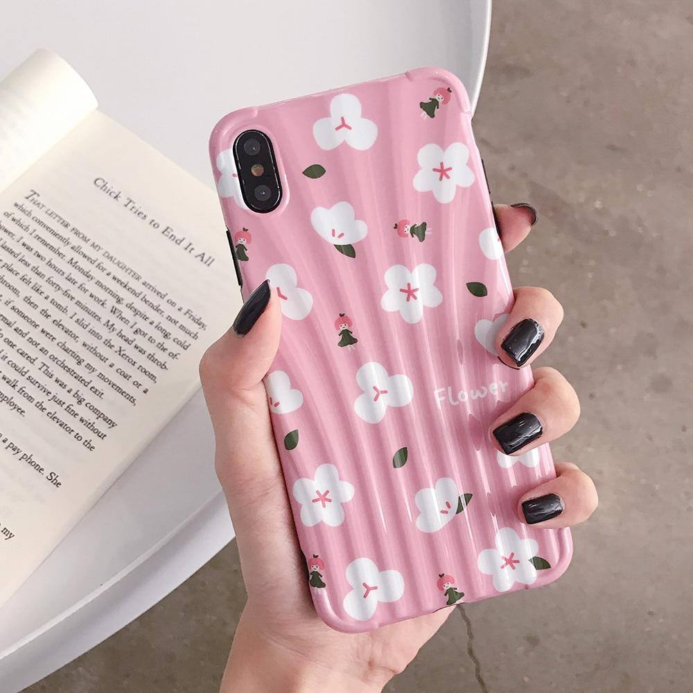 Cute Pink Flower Phone Case For iPhone XR XS Max 6 6S 7 8 Plus Xcases - Kalsord
